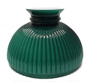 10 in Ribbed Green Glass Aladdin Kerosene Oil Lamp Shade (Image1)