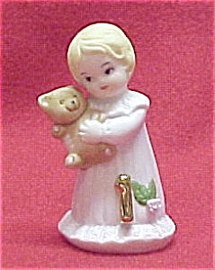 Enesco 1981 Growing Up Birthday Girl 1 Figurine Blonde Miniature (Image1)
