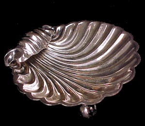 Shell Silver Plated Open Salt Dip Cellar Dish Vintage (Image1)