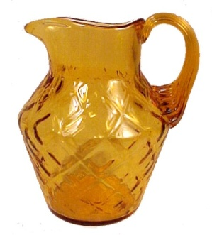 Amber Blown Art Glass Diamond Optic 4 in Pitcher Jug Creamer (Image1)