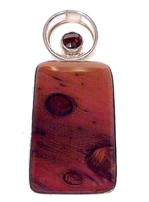 Sterling Silver Ruby & Red Art Glass Necklace Pendant