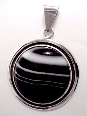 Sterling Silver Onyx Sardonyx Necklace Pendant Jewelry