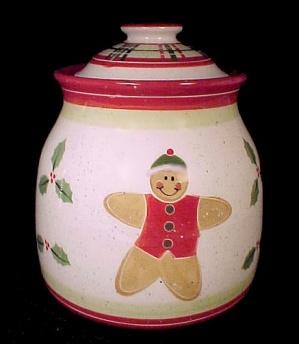 Gingerbread Man Christmas Cookie Jar Holly Julie Ueland Enesco (Image1)