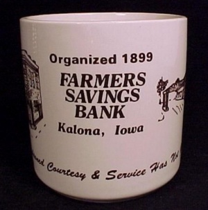 Farmers Savings Bank Coffee Mug Cup Kalona Ia Vintage