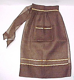 Vintage Brown Organdy Party Apron Gold Ric Rac Like New