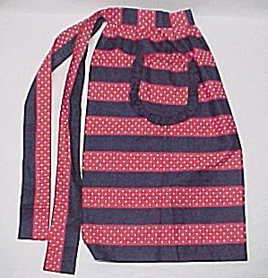 Retro Cotton Apron Red White Vintage 1950s 50s Style (Image1)
