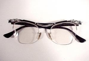 1950s Vintage Eyeglasses Black Plastic w Rhinestones (Image1)