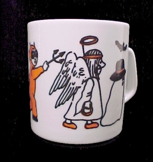 Halloween Coffee Mug Cup Ghost Bats Devil Black Cat
