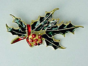 Holly Leaves & Berry Christmas Brooch Pin Enameled (Image1)