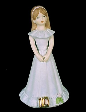 1982 Enesco Growing Up Birthday Girl 10 Figurine Brown (Image1)