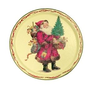 Santa Round Metal Christmas Tray 1991 Potpourri Press (Image1)