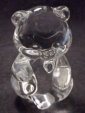 Fenton Glass Birthday Teddy Bear Figurine Clear Heart (Image1)