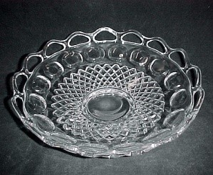 Open Crocheted Lace Edge Depression Glass Bowl Vintage (Image1)