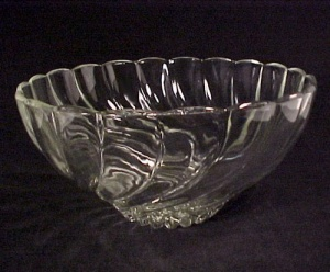 Hazel Atlas Glass Swirl Punch Bowl Vintage 40s 50s 60s