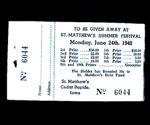 1940 St Mathew's Cedar Rapids Iowa Ia Raffle Ticket