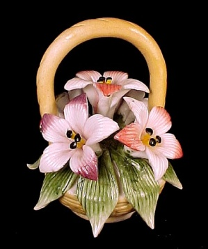 3 in Floral Porcelain Basket Pink & White Flower Blossoms Figurine (Image1)