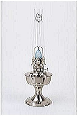Brushed Stainless Steel Aladdin Kerosene Oil Lamp Solid Brass Nickel  (Image1)