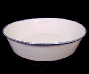 Blue & White Enamelware Graniteware Enamel Pan Vintage (Image1)