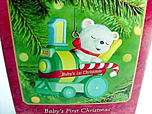 2000 Hallmark Christmas Tree Ornament Babys First 1st Bear on Train (Image1)