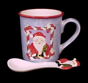 Elder Beerman Christmas Santa Claus Ceramic Mug Spoon (Image1)