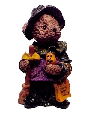 Halloween Witch Teddy Bear Jack-o-lantern Figurine