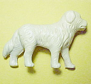 Celluloid White Dog Figurine Figure Vintage Plastic Miniature (Image1)