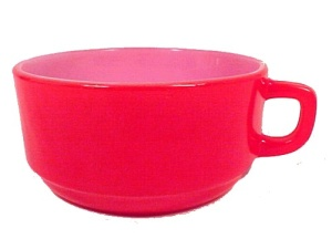 Fire King Red D-Handle Soup Cereal Bowl Anchor Hocking (Image1)