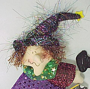 Spooky Hollow 10in Flying Sparkle Witch Broom Halloween