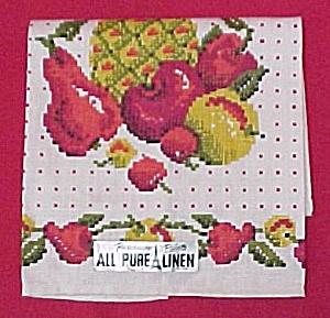 Parisian Prints Linen Towel Fruits Vintage Mint w/Tags Kitchen (Image1)