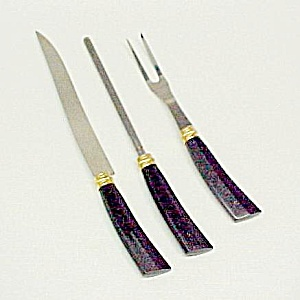 Black Lucite Gold Sparkle Carving Set Knife Fork Steel (Image1)