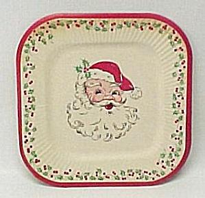 Vintage 1950s Santa Claus Face Christmas Paper Plate (Image1)