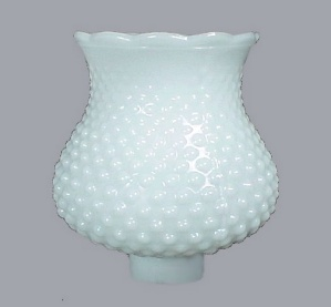 Hobnail Opaque Milk Glass Light Shade 1 5/8 In Danish Modern