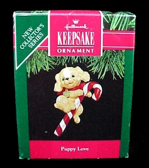 1991 Hallmark Christmas Tree Ornament Puppy Love #1 Keepsake QX537-9 (Image1)