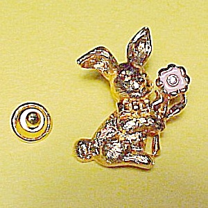 Rabbit Easter Bunny Push Pin Brooch Goldtone w Flower (Image1)