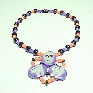 Plastic Halloween Kids Necklace Glow In Dark Cats Skull