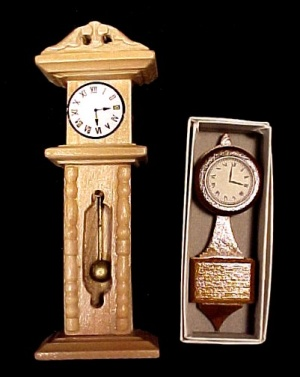 Doll House Clock Wooden Furniture Wood Dollhouse Pair