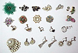 Junk Jewelry Earrings Rhinestone Stones Repairables