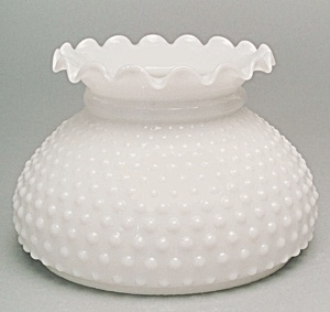 New Milk Glass White Hobnail Student Lamp Globe Shade Flawed (Image1)