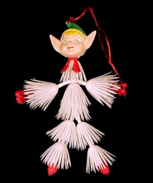 Vintage Plastic Christmas Tree Elf Ornament Hong Kong (Image1)