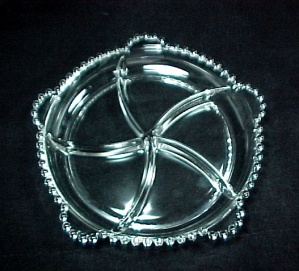 Relish Dish 5 Part Imperial Candlewick Clear Glass Stem #3400 Vintage
