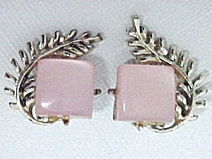 Vintage Pink Moonglow Lucite Thermoset Clip Earrings (Image1)