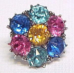 Tropical Flowers Rhinestone Floral Screwback Earrings (Image1)