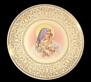Sacred Heart of Mary collectors Plate Catholic Vintage (Image1)