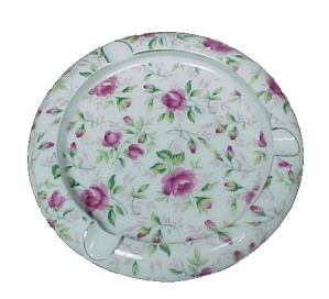 Vintage Lefton China Pink Rose Chintz 5 In Ashtray