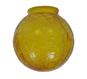 Crackle Amber Glass 3.25 X 6 Ball Fan Light Globe Shade AS IS (Image1)