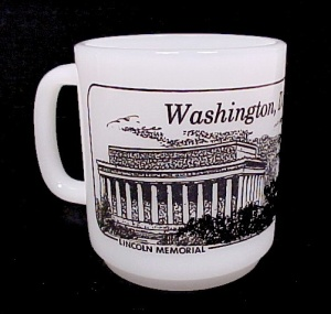 Washington Dc Milk Glass Coffee Mug Cup Souvenir
