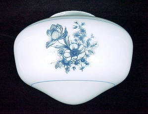 Floral Milk Glass 4 X 8 Shade Ceiling Fan Light Globe (Image1)