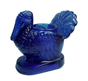 Turkey Toothpick Holder Dark Cobalt Blue Glass New (Image1)