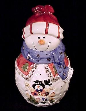 Snowman Christmas Cookie Jar Let It Snow Ceramic Gold Gilt (Image1)