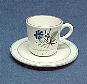 Stangl Pottery Blue Daisy Low Coffee Mug and Saucer (Image1)